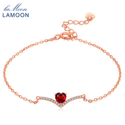 Lamoon Heart 100% Natural Gemstone Classic Red 0.3ct Garnet 925 Sterling Silver Jewelry 18KGP Chain Charm Bracelet S925 LMHI011