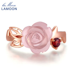 LAMOON Rose Flower 9mm 100% Natural Pink Rose Quartz Adjustable Ring 925 Sterling Silver Jewelry for Women Wedding LMRI025