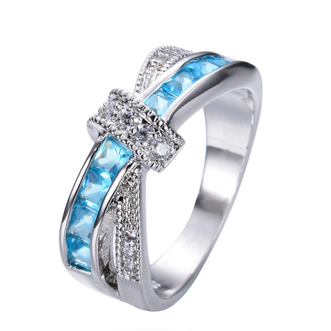 Designer cross over Blue AAA crystal ring, Sizes US 6 - 10
