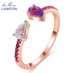 LAMOON TearDrop Natural Topaz Amethyst 925 Sterling Silver Adjustable Ring S925 Fine Jewelry for Women Wedding Gift LMRI043