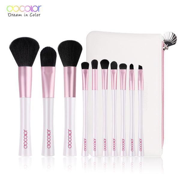 Docolor 10pcs Mermaid Brushes with Bag Professional White and Pink Makeup Brush set Top Synthetic Hair Beauty Essentials Brush