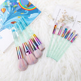 Docolor New 10PCS Makeup brushes Set Light Green Transparent Handles with Colorful Bristle Make up Brushes Super Soft Hair