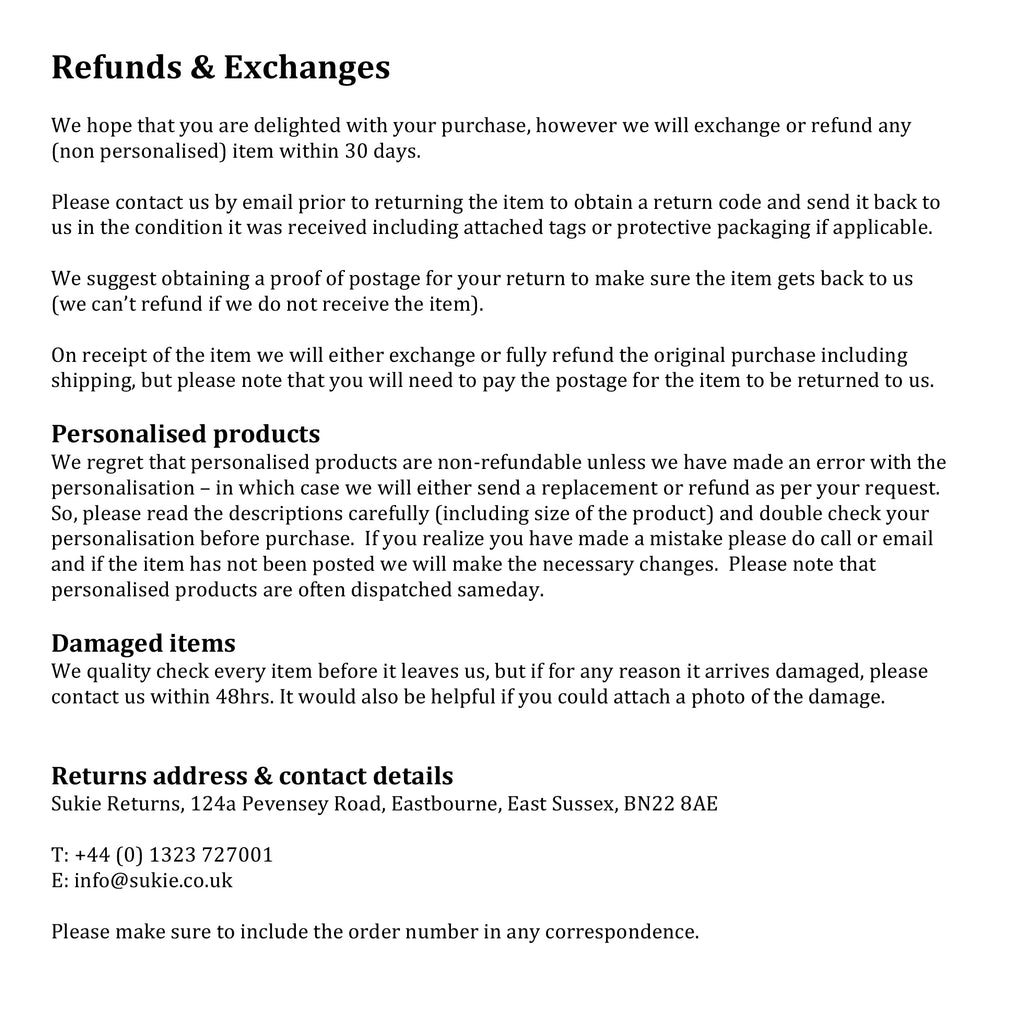 refund and exchange information