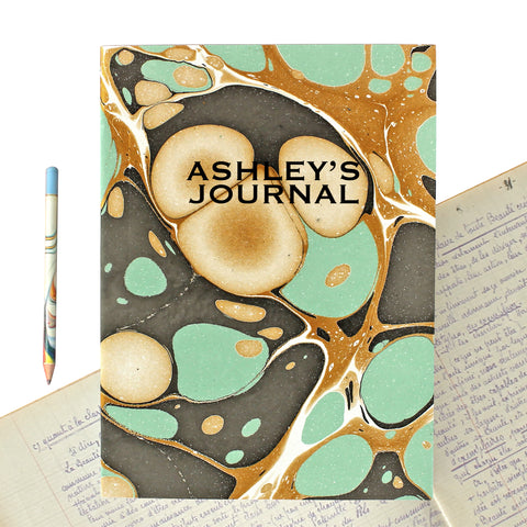 Hand Marbled Journal in Aqua