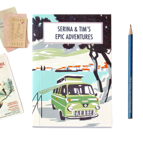 Personalised Beach Camper Travel Journal With Green Camper Van