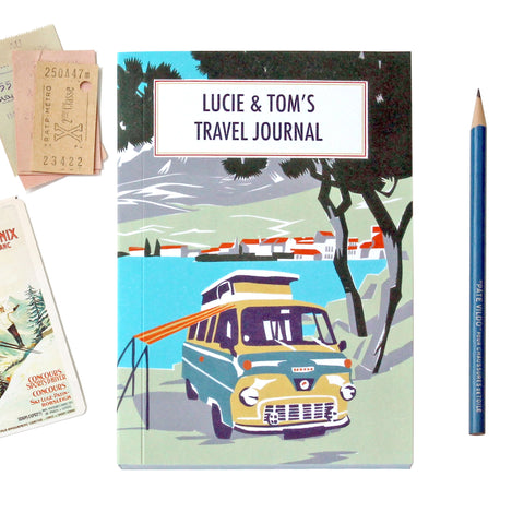 Personalised Beach Camper Travel Journal With Yellow Camper Van