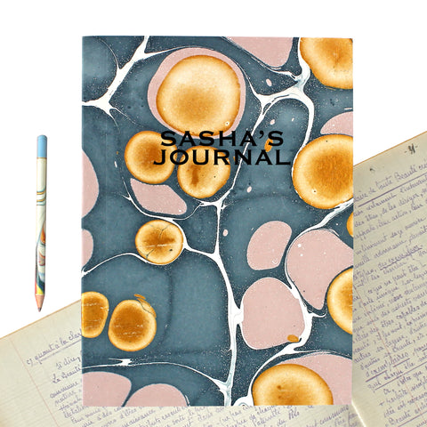 Hand Marbled Journal in Blue & Pink