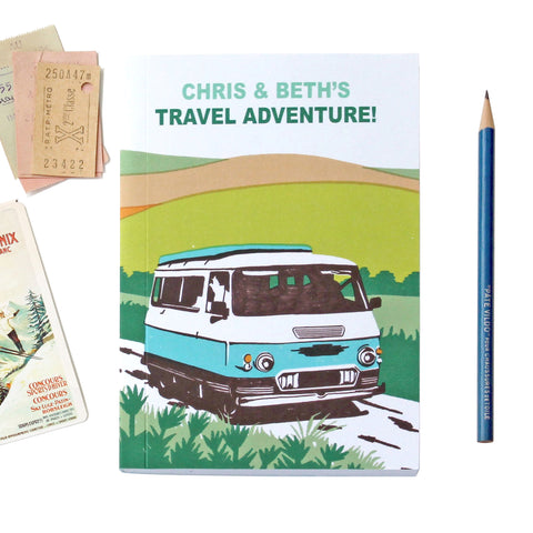 Personalised Blue Sunshine Camper Travel Journal