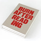 LETTERPRESS Burn After Reading Notebook - Sukie