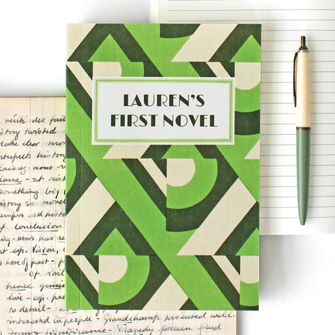 My First Novel Notebook in Green Deco style