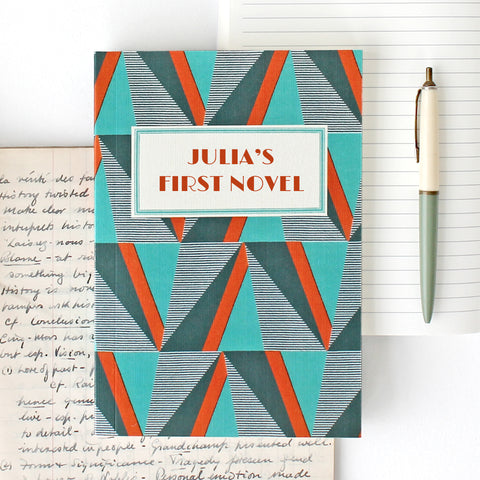 'My First Novel' Notebook with geometric design