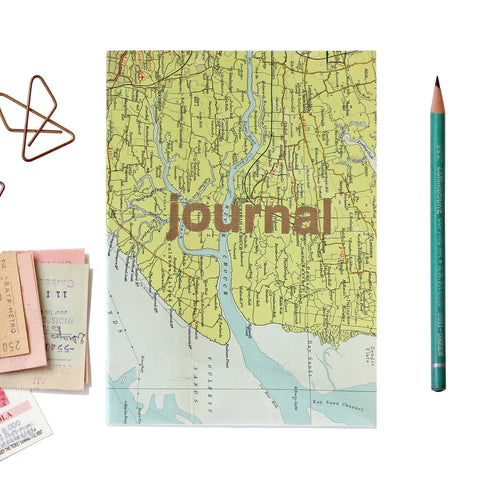 Map Journal with Gold Type