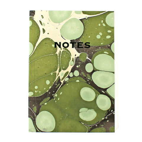 Hand Marbled Note Book in Green