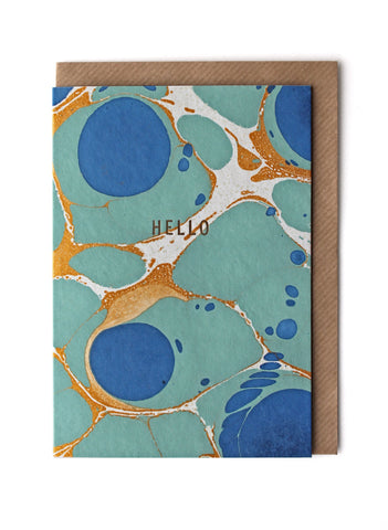 Marble Royal Blue 'Hello' Card & Envelope