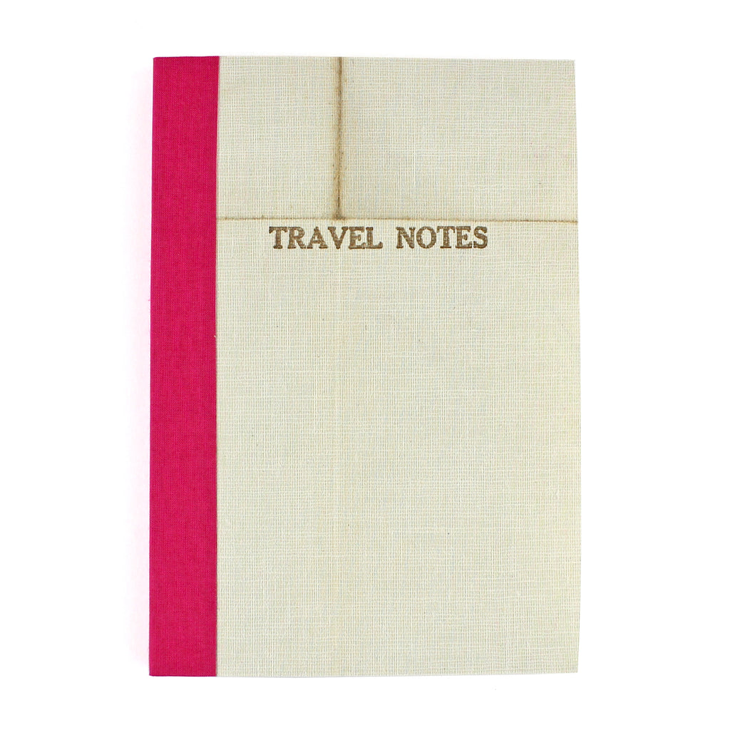 Linen Map Travel Notes with Pink Binding - Sukie