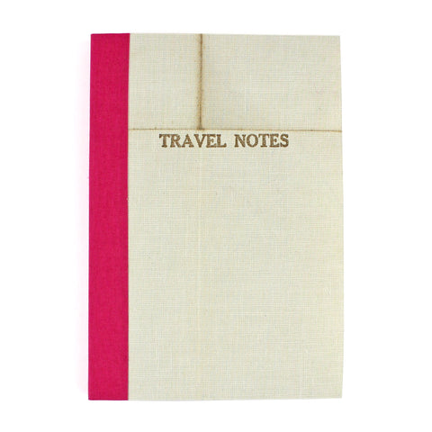 Linen Map Travel Notes with Pink Binding