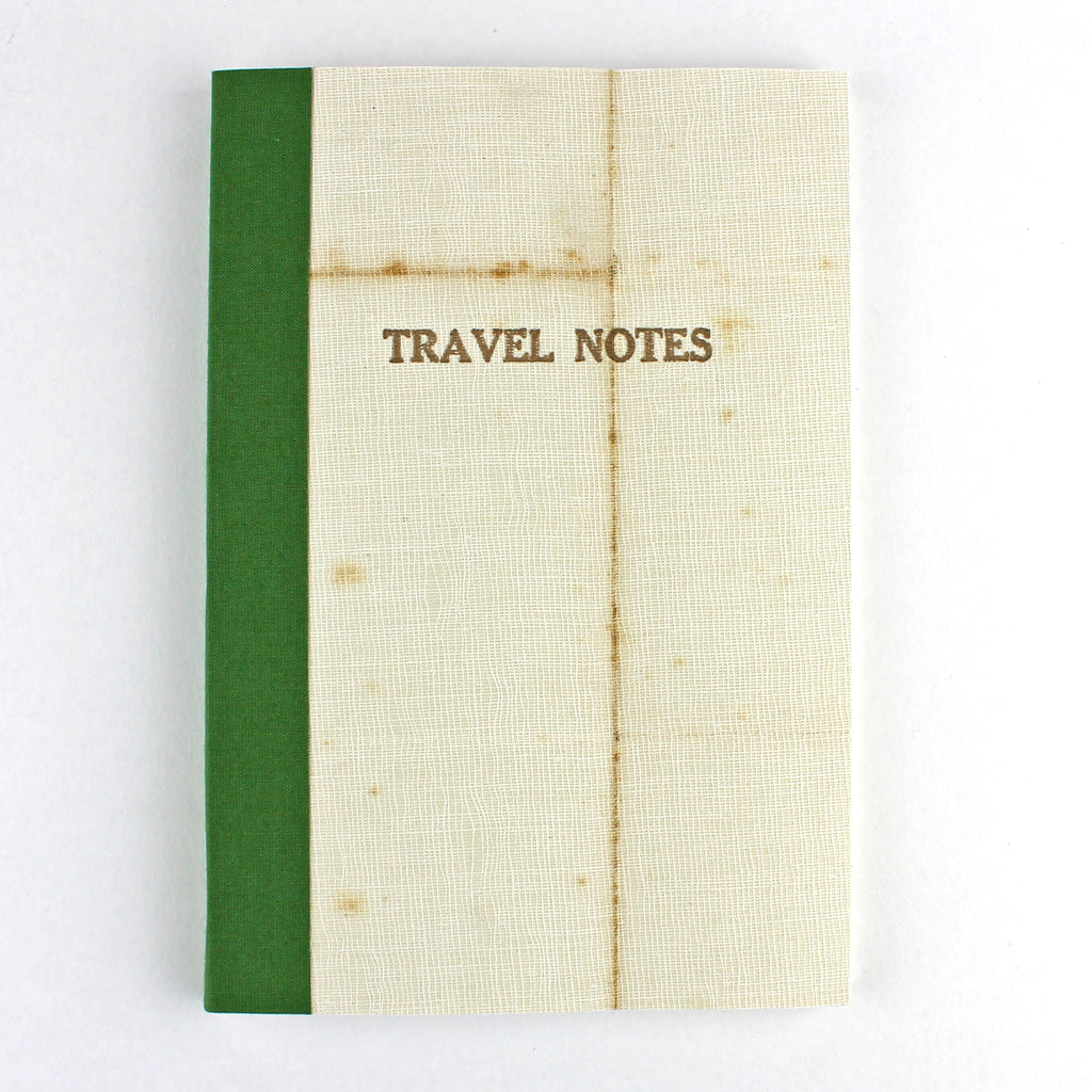 Linen Map Travel Notes with Green Binding - Sukie