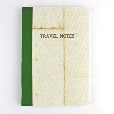 Linen Map Travel Notes with Green Binding