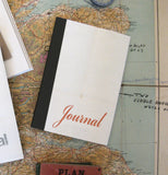 Linen Map Journal With Red Script & Black Binding - Sukie