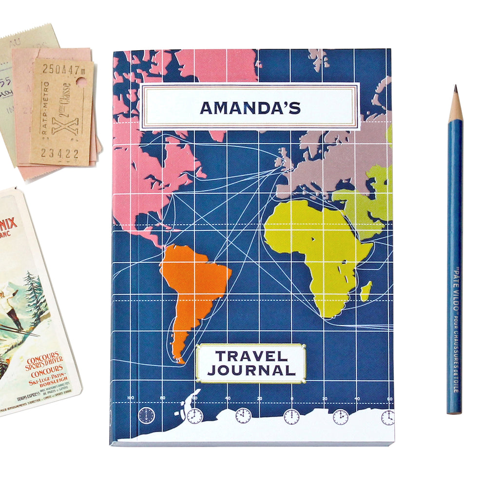 Personalised World Map Travel Journal With Dark Blue Cover - Sukie