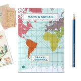 Personalised World Map Travel Journal With Light Blue Cover - Sukie
