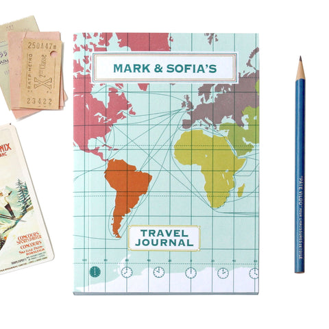 Personalised World Map Travel Journal With Light Blue Cover
