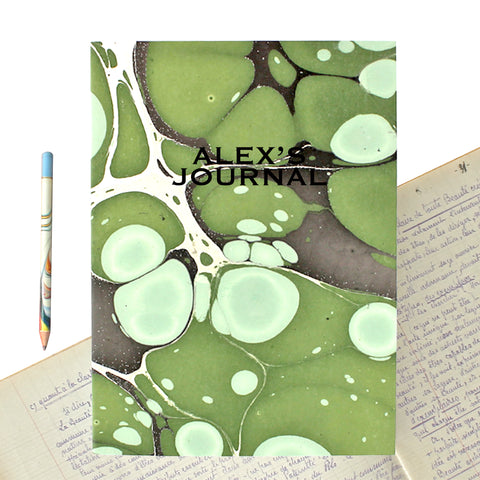 Hand Marbled Journal in Green