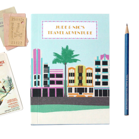 Personalised Miami Deco Travel Journal