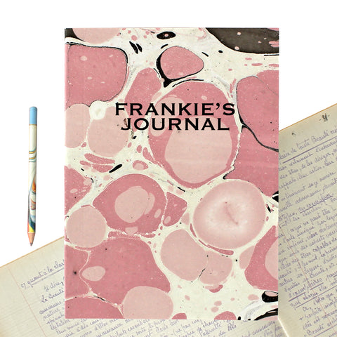 Hand Marbled Journal in Pink