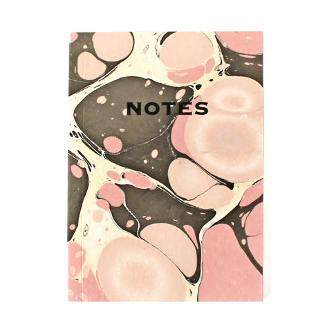 Hand Marbled Note Book in Pink & Brown