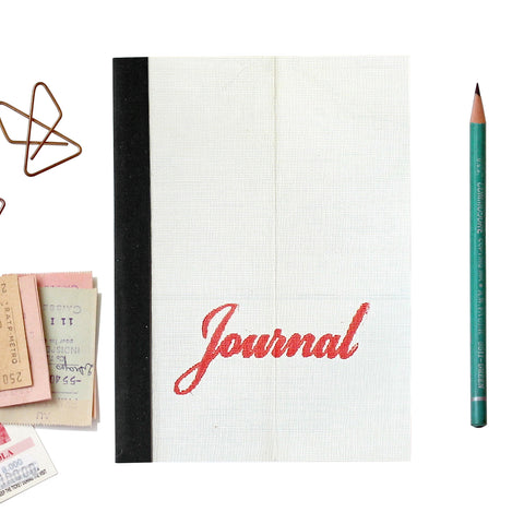 Linen Map Journal With Red Script & Black Binding