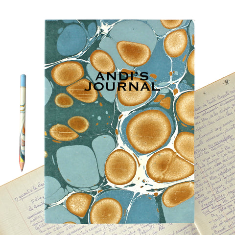 Hand Marbled Journal in Sea Green