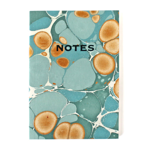 Hand Marbled Note Book in Sea Green