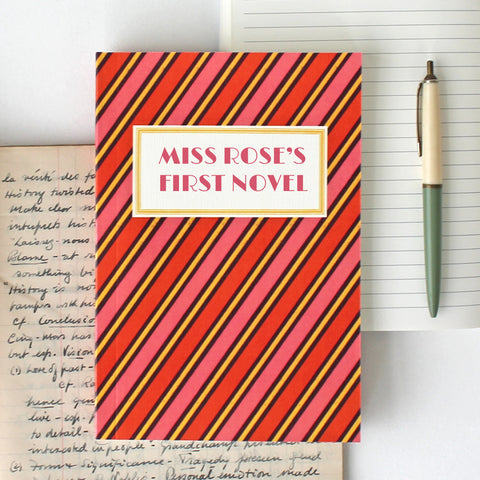 'My First Novel' Notebook with striped design