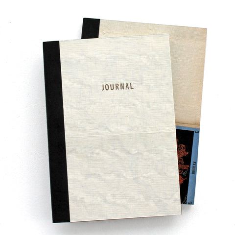 Linen Map Journal With Gold Letterpress Type & Black Binding