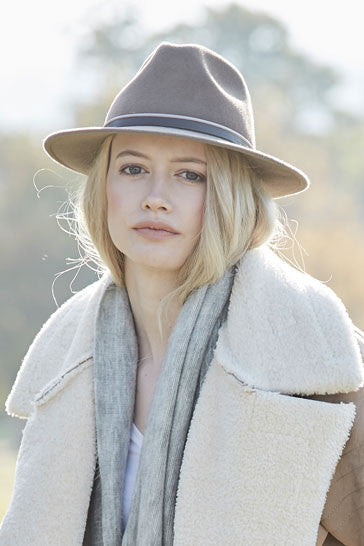 Mink trilby hat for women with taupe leather band