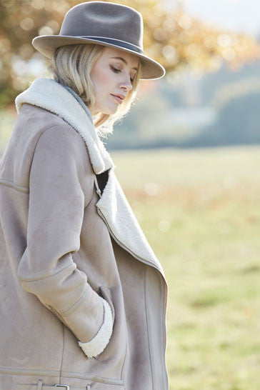 Luxury mink fur felt trilby hat for women with taupe leather band