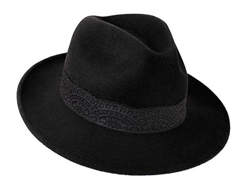 Amber Trilby Charcoal Black/ Black Lace Band