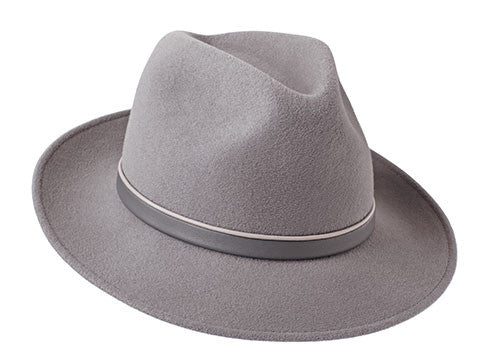 Amber Trilby Dove Grey/ Beige & Grey Leather Band