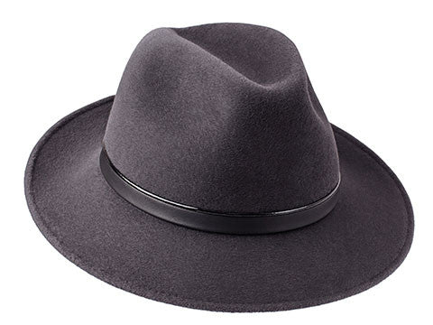 Amber Trilby Elephant Grey/ Patent & Black Leather Band