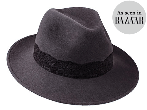 Amber Trilby Elephant Grey/ Black Lace Band