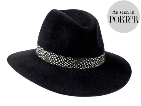 Ladies classic fedora style hat in charcoal black with feather band