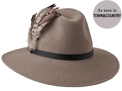 Ladies classic fedora style hat in mink with large natural feathers