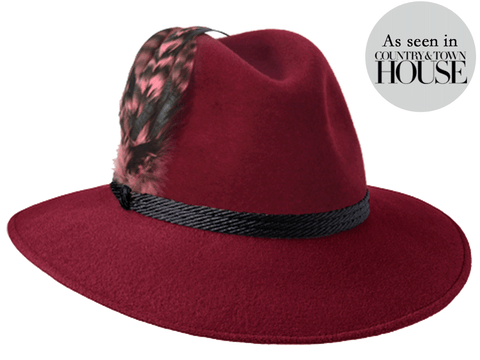 Willow Fedora Burgundy/ Black Braid & Feather Band