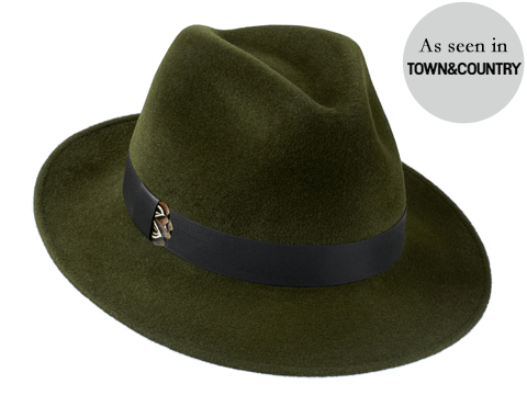 Amber Trilby Green/ Leather & Pheasant Feather Band