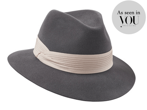 Siena Fedora Grey/ Pale Pink Pleated Band