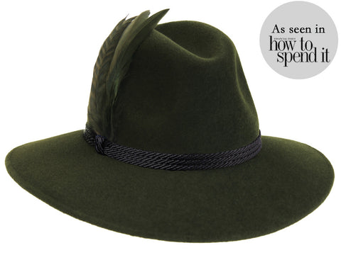 Willow Fedora Green/ Black Braid & Feather Band