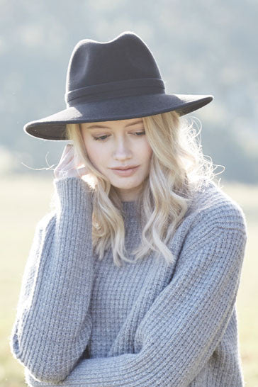 Ladies classic fedora style hat in charcoal black with herringbone band