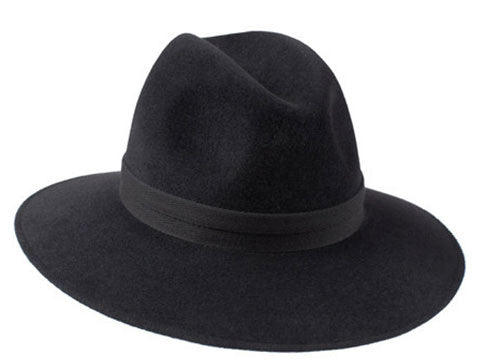 Willow Fedora Charcoal/ Double Black Herringbone Band