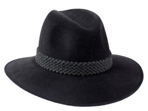 Womens designer fedora hat in charcoal fur felt with a grey wool braid band